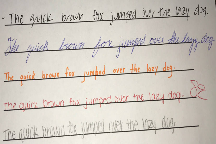 Siliva Angel, Micah Moyer, Sydney Engleman, Melody VerWoert all copied the first sentence to model various handwriting styles!