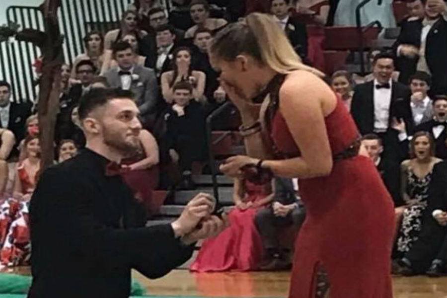 Logan Shield proposes to Gabbi Moss at the Grand March.