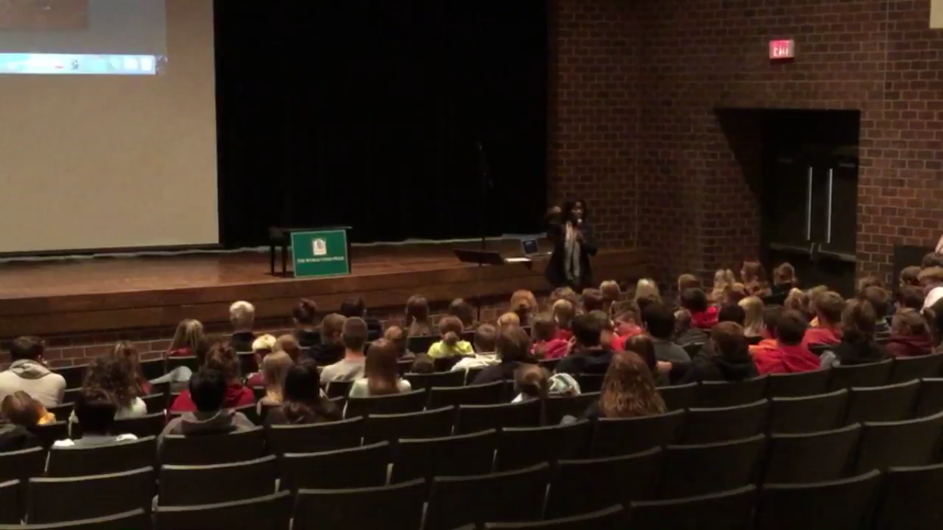 Bettie Kawonga speaks to students at ADM.