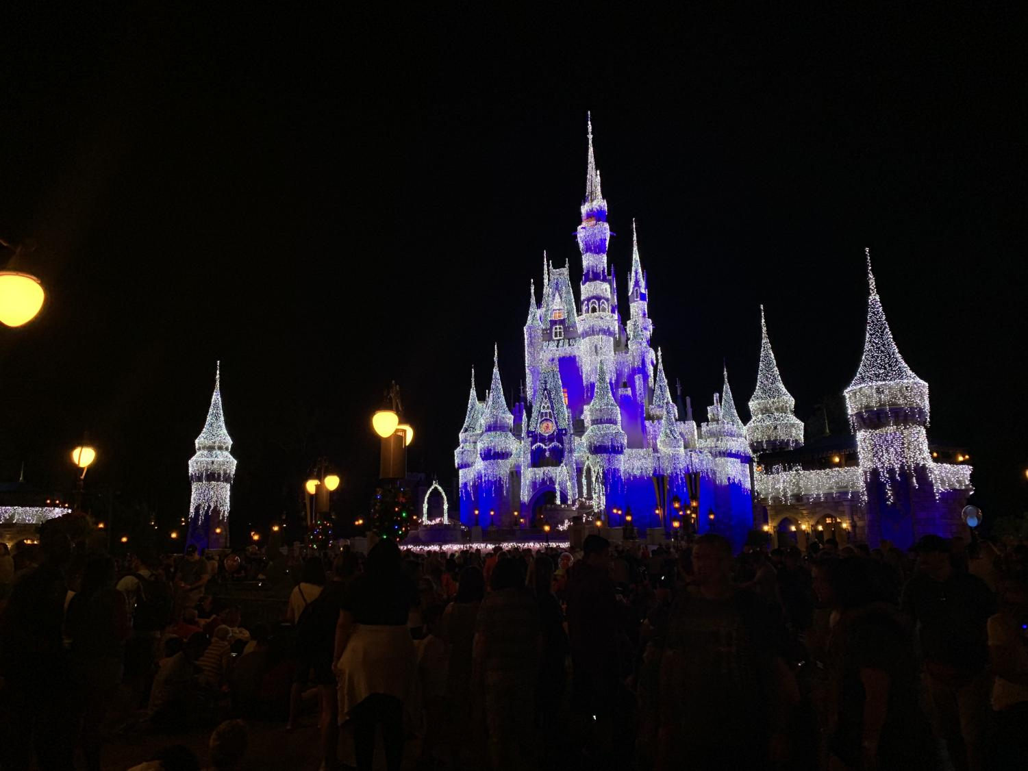 Cinderella's castle lights up the night sky at Disney. Don't forget to catch the Happily Ever After Show, where you'll see this happen.