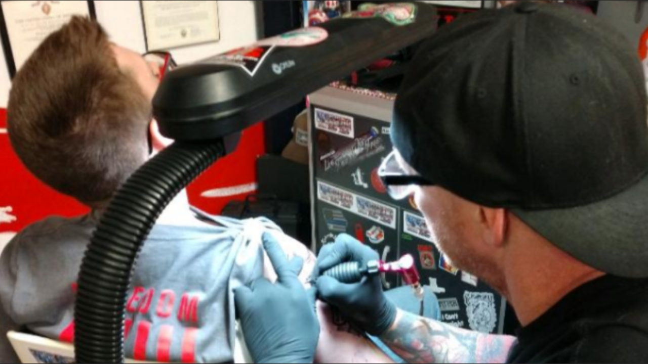 Senior Carter Slater getting his first tattoo on his 18th Birthday.