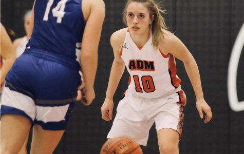 Game face on, Aniston Smith helps lead ADM basketball to yet another victory at home. She has been nominated as Basketball Player of the Month for February.