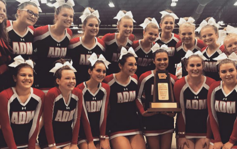 ADM Cheerleaders, 2018 squad, after winning 4th place at the Iowa High School Cheerleading Championships.
