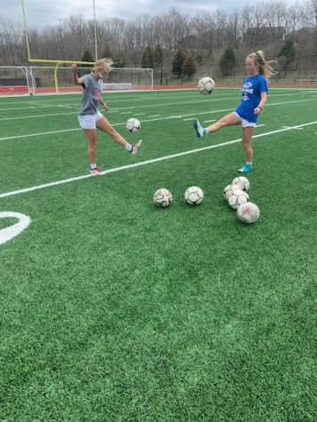 Two soccer studs, Josi Lonneman (left) and Delaney Barton (right) are continuing to practice their game during Covid-19 crisis.