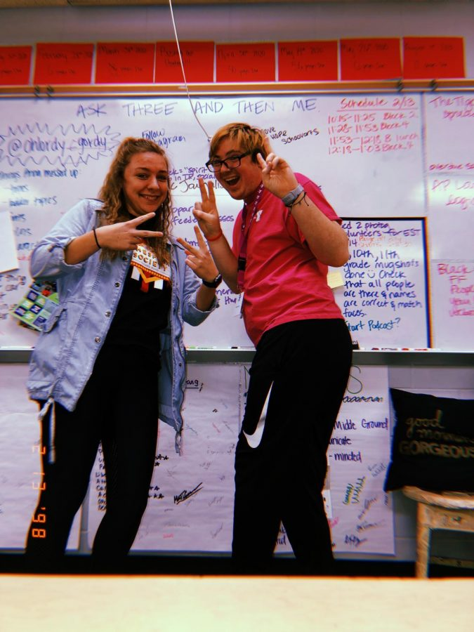 Posing with Editor-in-Chief Grace Hatchitt during a story ideas brainstorm. This many of the fun things you get to do during this class.