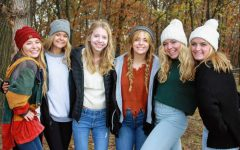 Callie Hazel, Brookelyn Evans, Lauren Brady, Megan Whitson, Brynn Busta, and Morgan Busta, all ADM Juniors, at a Pumpkin Patch, Fall 2020.