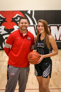 Aniston Smith and her basketball Coach; Jacob Cleveland