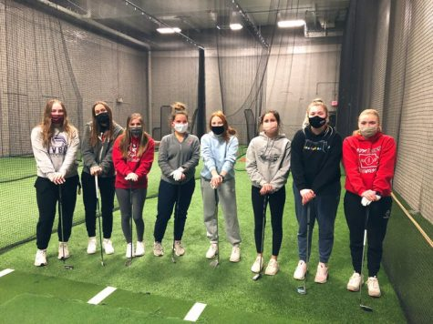 February 2021 Open Gyms, Girls Golf team at Minburn Hitting Facility