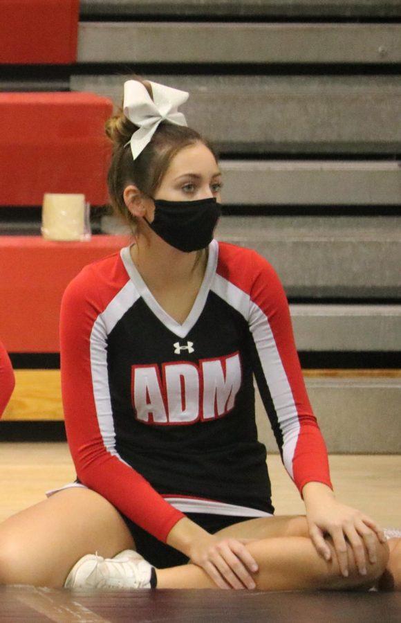 Cheerleader of the Month Kaisha Christianson prepares to call a cheer.