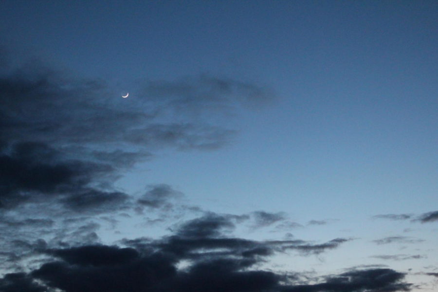 April+nights+sky+just+after+sun+set%2C+the+moon+in+its+Waxing+Crescent+phase.