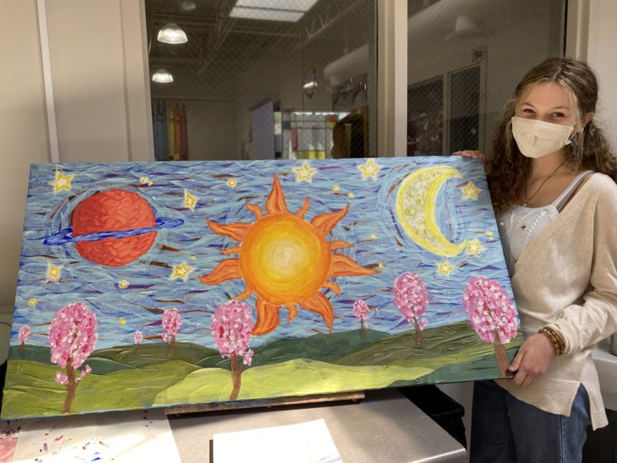 Lastly, is Serena Gibson. Her larger than life painting ecompases our solar systems key features with dimension and texture. Her work does not go unnoticed. Congratulations to all seniors.