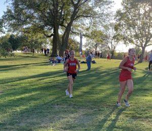 Senior Morgan Busta running in a a recent Cross Country meet.